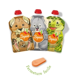 Lot de 3 Squiz réutilisables - 130 ml + 1 squiz'zip